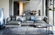 Мека мебел с кожена и текстилна тапицерия модел Auto-reverse. Производител: Arketipo, Италия. Дизайнерски италиански кожени дива