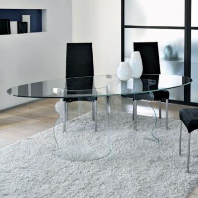 Мод. Alfa. Трапезарна маса със извита стъклена основа и овален или правоъгълен стъклен плот. Производител: Unico Italia, Италия.