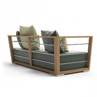 Диван модел Embrace, приозводител Atmosphera, Италия. Градинска мебел с текстила тапицерия и тиково дърво.