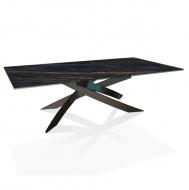 Модерна маса, за, всекидневна, модел Artistico, производител Bontempi, Италия. Метална структура, плот, естествен фурнир, стъкло