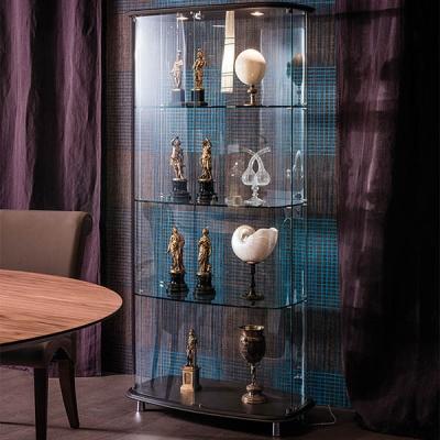 Стъклена витрина, основа и таван - кожена тапицерия. Модел Conceto. Cattelan, Италия. Модерни италиански мебели от стъкло - витр