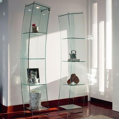 Луксозна стъклена витрина с метални хромирани елементи модел Open Wind. Cattelan, Италия. Модерни италиански мебели от стъкло -