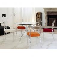 Трапезен стол от прозрачен или плътно оцветен поликарбонат мод. Igloo. Производител: SCAB Design, Италия. Модерен прозрачен итал