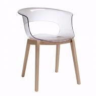 Трапезарен стол със седалка от подсилен поликарбонат модел Natural Мiss B Аntishock. Производител: SCAB Design, Италия. Модерен