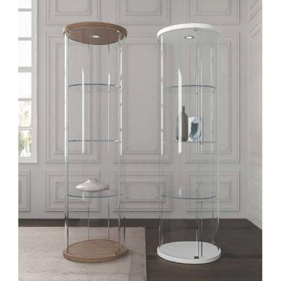 Модерна кръгла стъклена витрина с осветление. Progetto Design. Италиански мебели от стъкло - маси, витрини, конзоли, огледала, о