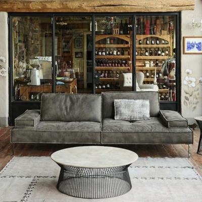Модерен модулен диван с кожена или текстилна тапицерия и механизми за промяна дълбочината на сядане модел Alan. G&G, Италия. Лук