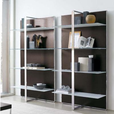 Библиотека с метална хромирана рамка, естествен фурнир и стъклени рафтове- мод.Gil. Производител: Antonelloitalia, Италия.