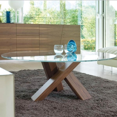 Мод. Tempo - маса за всекидневна със стъклен плот и кръстосани метални или дървени крака. Производител: Antonello, Италия. Луксо