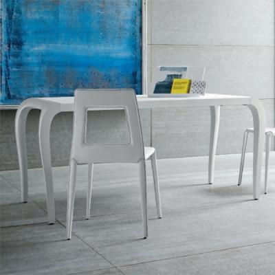 Мод. Artu- разтегателна или фиксирана трапезна маса с крака бял лак гланц и бял стъклен плот. Производител: Sedit, Италия. Модер