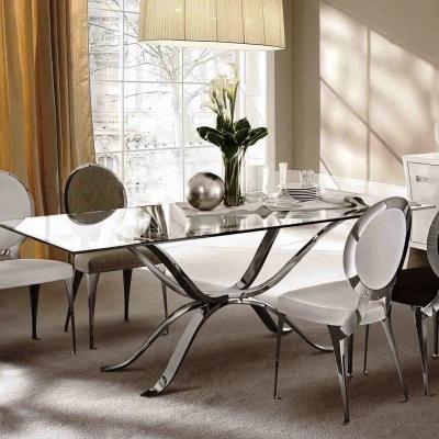 Модел Atlante - луксозна трапезарна маса с метални крака и стъклен плот. Производител: Cantori, Италия. Луксозни италиански маси