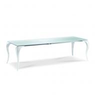 Винтидж трапезарна маса с крака от поликарбонат и стъклен плот. Модел Bond. Midj, Италия. Луксозни трапезарни маси, фиксирани ил