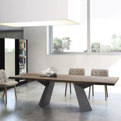 Луксозна трапезарна маса, фиксирана или с разтягане модел Fiandre. Производител - Bontempi, Италия. Метална основа, плот - масив