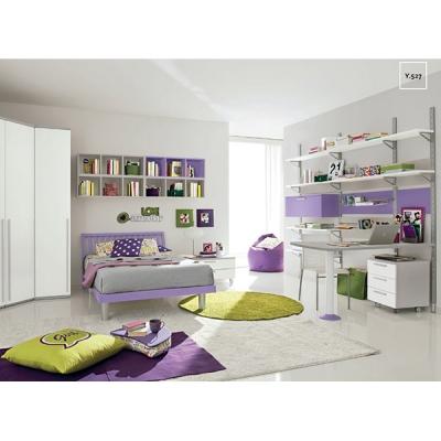 Модерни мебели за юношески стаи. Колекция Golf Young, примерна композиция Y527. Colombini, Италия. Италианско обзавеждане за юно