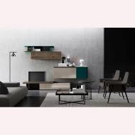 модулни системи за дневна, колекция Slim. DallAgnese, Италия. Луксозни италиански холни композиции от масив, фурнир, лак, метал