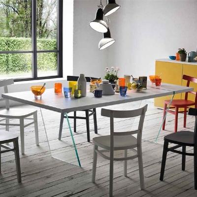 Трапезарна маса с прозрачни стъклени крака модел Fly. Производител - Sedit, Италия. Луксозни трапезни италиански маси със стъкле