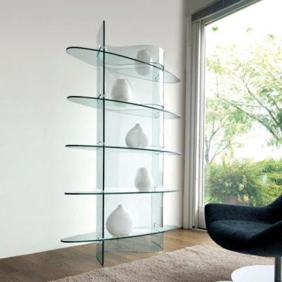Модерна библиотека от стъкло с вградено осветление модел Infinity. Производител: Unico Italia, Италия. Модерни италиански стъкле