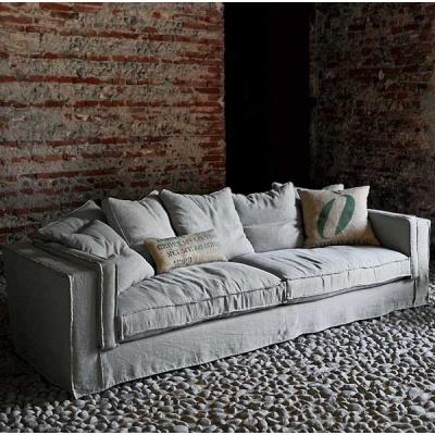 Винтидж луксозен модел диван с гъши пух и текстилна тапицерия модел Lavinia. G&G, Италия. Луксозни италиански винтидж дивани с г