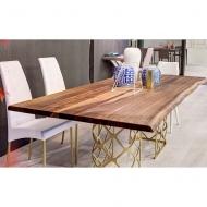 Модерна трапезарна маса с метална основа, плот - масив, естествен фурнир, стъкло или керамика. Модел Majesty. Производител - Bon