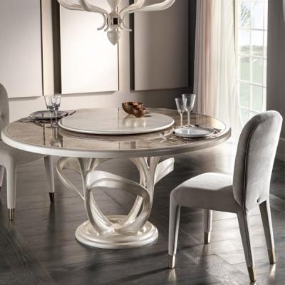 Трапезарна маса с метална основа и стъклен плот. Модел Manhattan. Cantori, Италия. Луксозни италиански трапезни маси с кръгъл пл