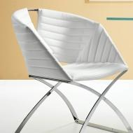 Модел Portofino. Производител - Midj,Италия. Модерен италиански  стол с метална структура и кожена тапицерия