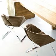 Кожен стол с метални крака за трапезария или всекидневна. Модел Portofino. Производител: Midj, Италия.