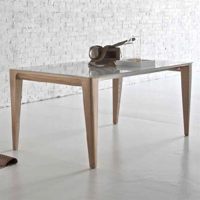 Мод. Mirage - разтегателна или фиксирана трапезарна маса с дървена основа, алуминиев механизъм и стъклен плот. Производител: Sed