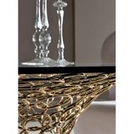 Трапезарна маса от метал със стъклен плот модел Mondrian. Cantori, Италия.  Луксозни италиански трапезни маси от метал и стъкло.