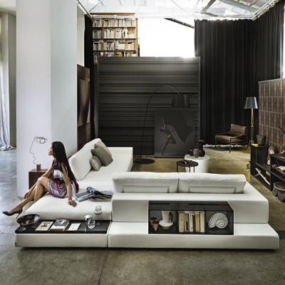Мека мебел с текстилна или кожена таппицерия мод. Plat. Производител: Arketipo, Италия. Луксозни модели италиански дивани с ъгло