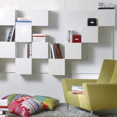 Модерна бяла, метална модулна билиотека модел Rubik. G&G, Италия. Модерни италиански мебели за дневна от метал, дърво и др.- бил