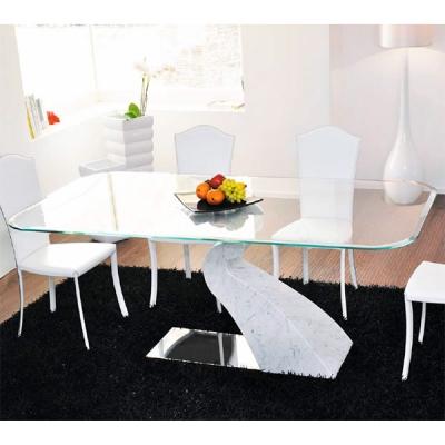 Мод. Sintonia - фиксирана трапезарна маса с мраморна основа и стъклен плот. . Производител: Unico Italia, Италия. Модерни италиа
