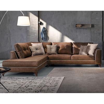 Модерна холна гарнитура с кожена тапицерия- модел Steven. Le Comfort, Италия. Италиански кожени мебели за дневна- дивани, кресла