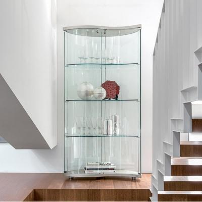 Модерна витрина от стъкло, естествен фурнир или лак мат. Модел Oregina. Производител - Tonin casa, Италия. Италиански мебели от