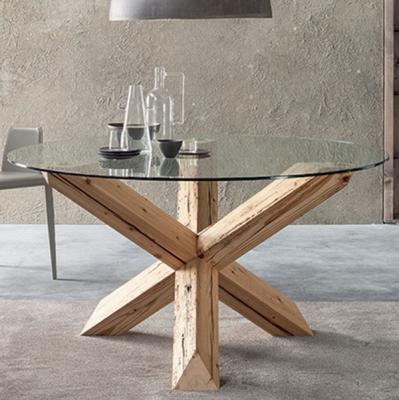 Мод. Travo. Трапезарна маса с кръгъл или овален стъклен плот. Крака от масивна дървесина. Производител: Sedit, Италия.