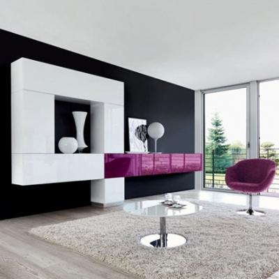 Модерна холна композиция модел Tetris. Производител: Unico Italia, Италия. Модерни италиански холни композиции със стъклени врат