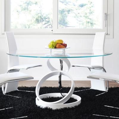 Мод. Trilogy - фиксирана трапезарна маса с кръгъл стъклен плот. Основа – бял или черен лак гланц. Производител: Unico Italia, Ит
