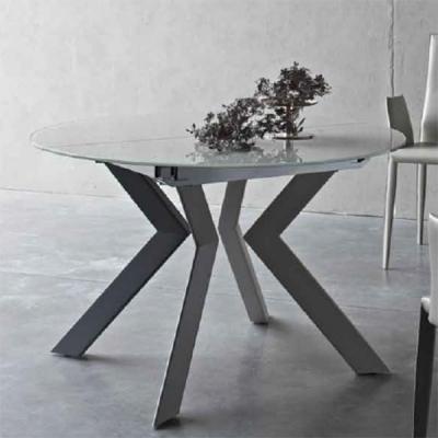 Мод. Vale. Трапезарна маса с разтягане, кръгъл или овален бял стъклен плот.Метални крака – бял мат или сиви. Производител: Sedit