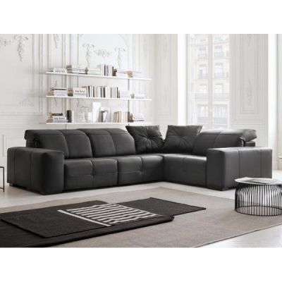 Модерен италиански кожен ъглов диван модел William. Производител: Rigosalotti, Италия.