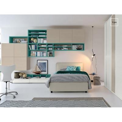 Модерни мебели за юношески стаи. Колекция Golf Young, примерна композиция Y512. Colombini, Италия. Италианско обзавеждане за юно